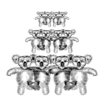 Koala group koala chorus line design art print