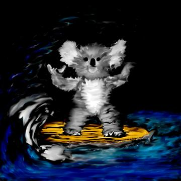 Koala surfing art design print