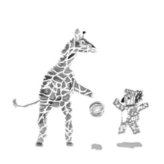Koala and giraffe playing basketball