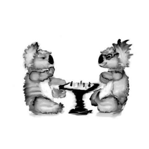 Koala Chess Art - Two Koalas Playing Chess