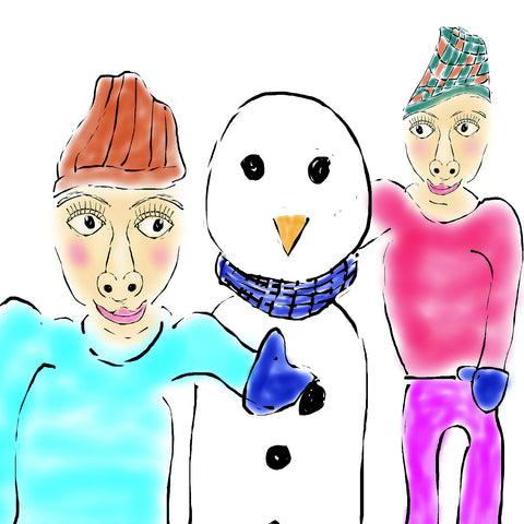 Two people and a snowman