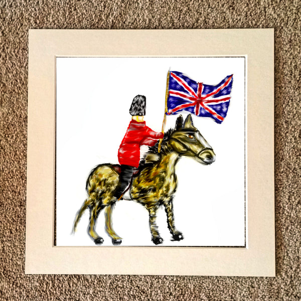 English soldier on horseback