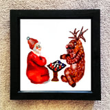 Santa and Rudolph playing chess