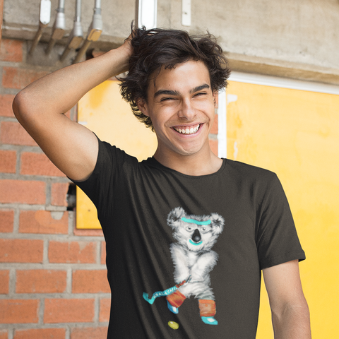 Cool Unisex Animal T-Shirt Koala playing hockey