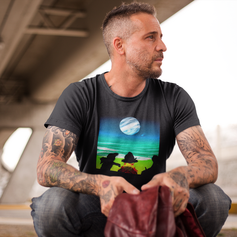 Cool Unisex Surfing T-Shirt Campfire shadows