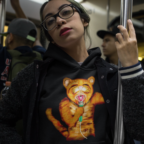 Cool Unisex Animal Hoodie Jaguarundis cat rocker