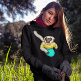 Cool Unisex Surfing Hoodie White cheeked Gibbon surfing