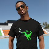 Unisex Dinosaur T-Shirt Velociraptor blowing bubbles