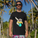 Cool Unisex Surfing T-Shirt White cheeked Gibbon surfing