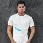 Cool Unisex T-shirt blue river and windfarm