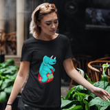 Unisex T-Shirt Triceratops on a space hopper