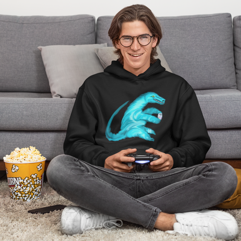 Cool Unisex Dinosaur hoodie Velociraptor playing video games