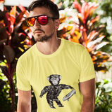 Cool Unisex Animal T-Shirt Chimp with Skateboard