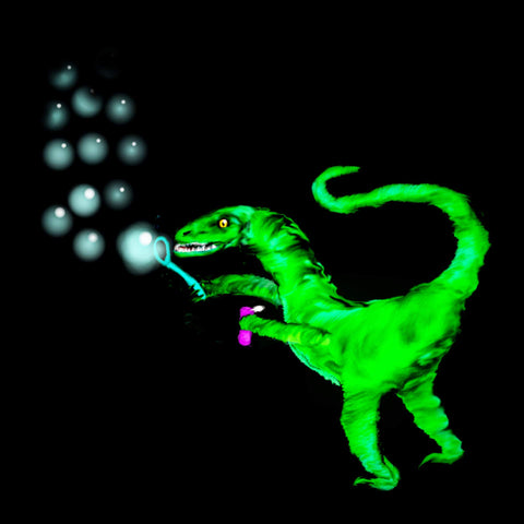 Velociraptor blowing bubbles