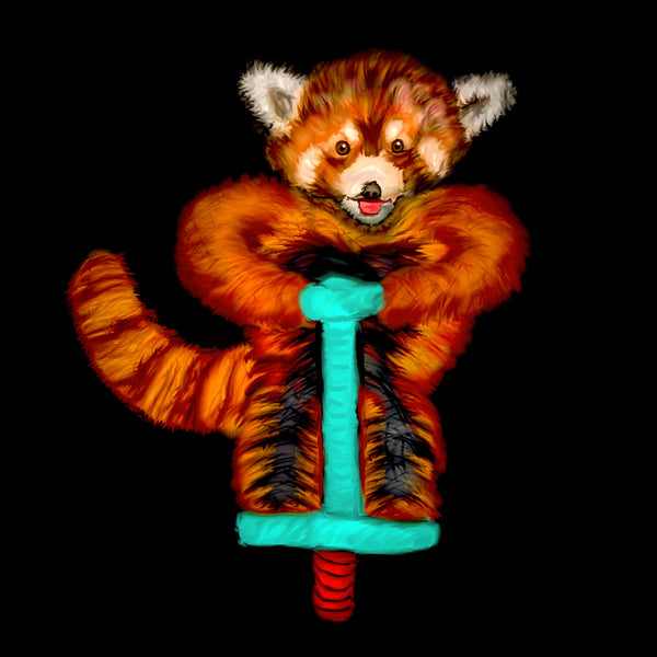 Red panda on a pogo stick