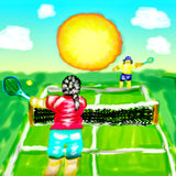 Grass tennis court match