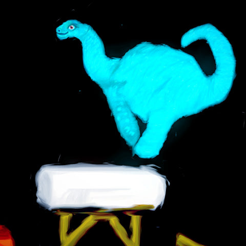 Brontosaurus leaping over vault