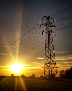 Sunset and pylon