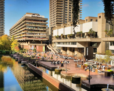 Barbican centre and reflected buildings horizontal