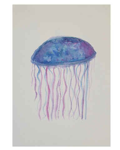 Jelly fish in purple and blue