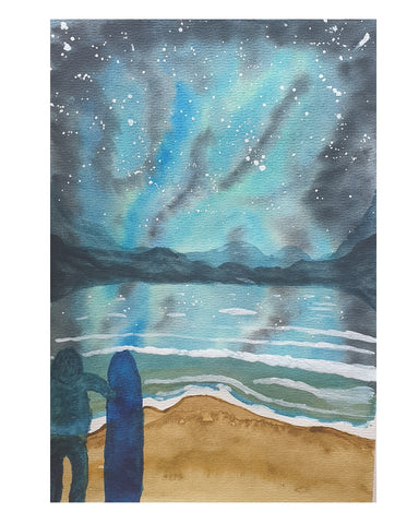 Surfer staring at the stars