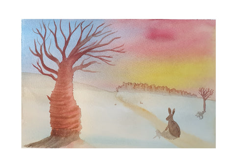 Hare and cherry tree in winter