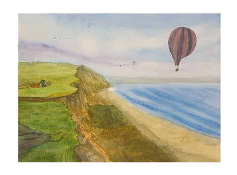Balloons and cliffs on the coast