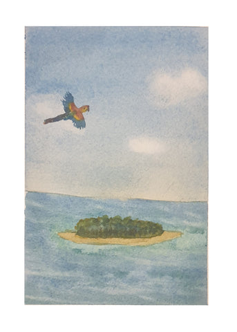 Parrot flies over atoll