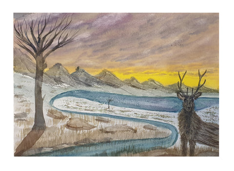 Stag in snow at sunset