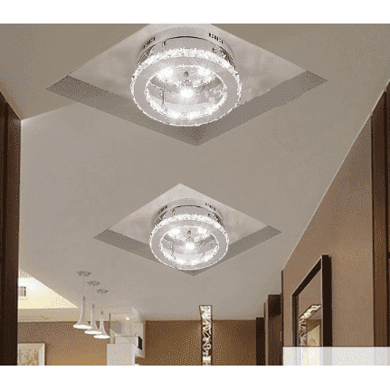 Silver Ceiling Light With Crystal