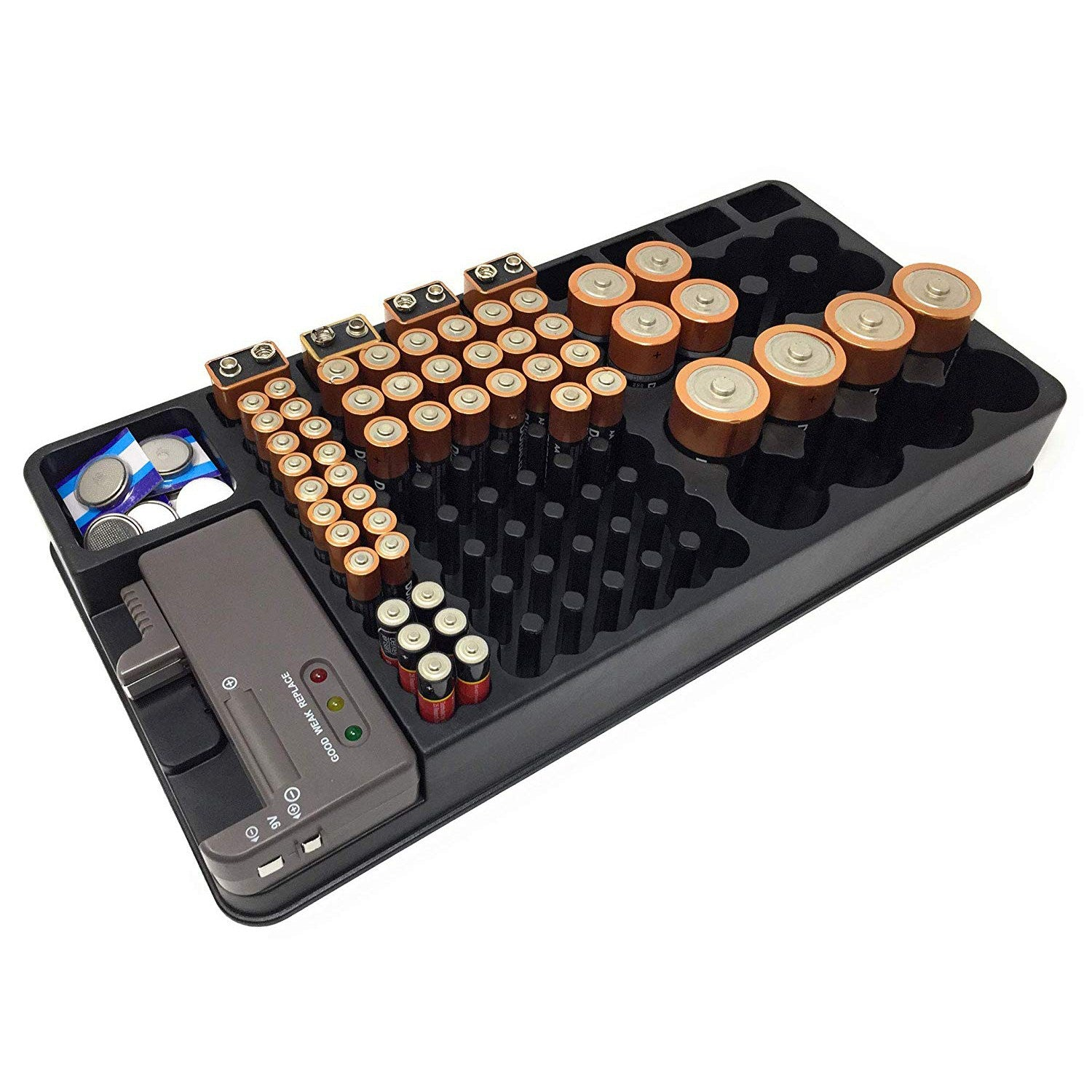 Battery Organizer With Battery Tester