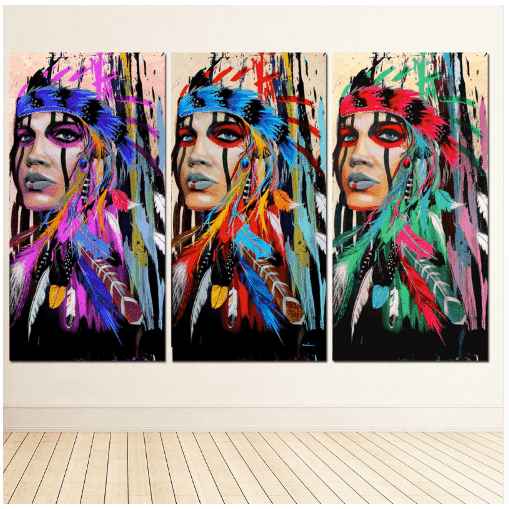 Native American Girl HD Canvas Print Wall Art