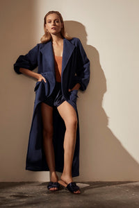 Autumn Afternoon Maple Dressing Gown Blue Editorial