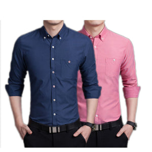 Pack of 2 Slim Fit Plain Casual Shirt