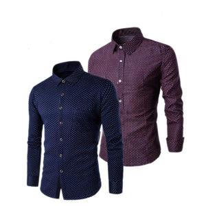 Pack of 2 Slim Fit Polka Dot Casual Shirt