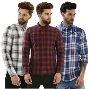Pack of 3 Branded Slim Fit Checked Casual Shirt
