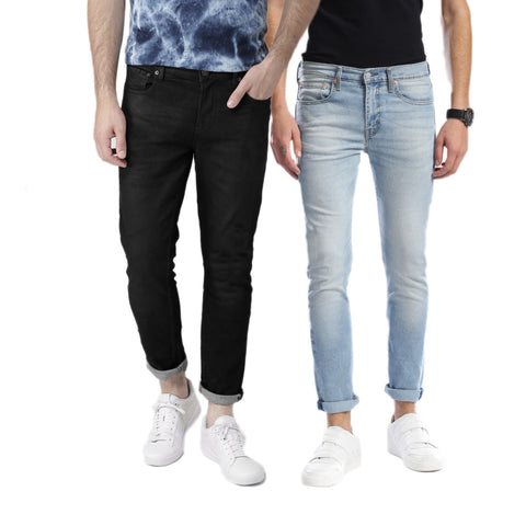 Pack of 2 Slim Fit Light Blue & Black Stretchable Jeans