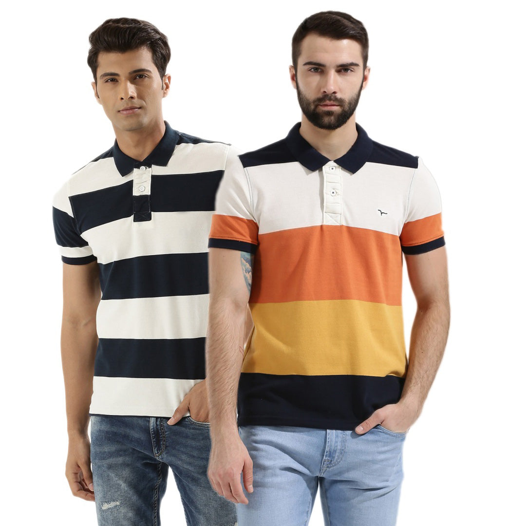 Pack of 2 Premium Quality Casual Striped Tees