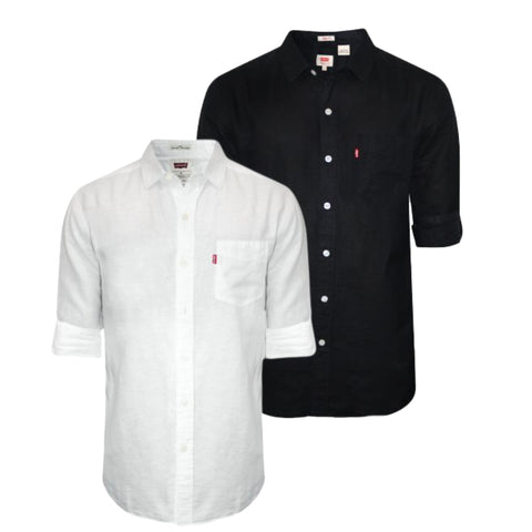 Pack of 2 Slim Fit Plain Black & White Casual Shirt