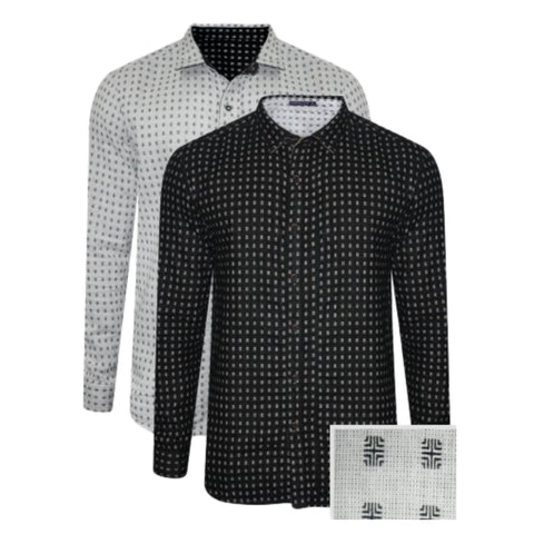 Pack of 2 Branded Slim Fit White & Black Casual Shirt