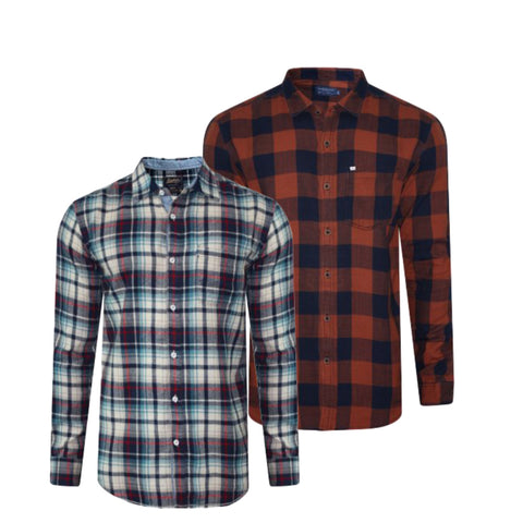 Pack of 2 Slim Fit Checked Casual Shirt