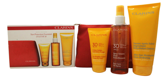 Clarins Sun Protection Essentials Women's Gift Set 75ml Sun Wrinkle Control Cream UVB30 + 150ml Sun Care Oil Spray UVB30 + 200ml After Sun Ultra Hydrating Moisturizer + Travel Bag