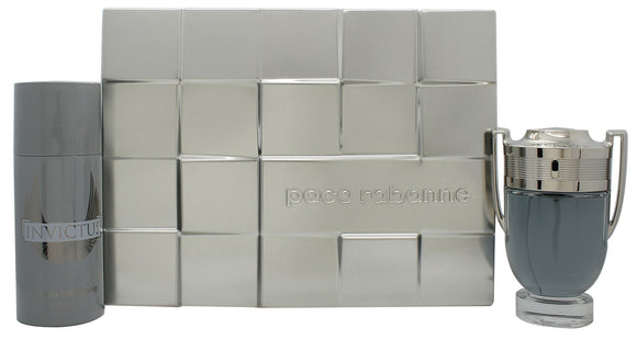 Paco Rabanne Invictus Mens Gift Set 100ml EDT + 150ml Deodorant Spray
