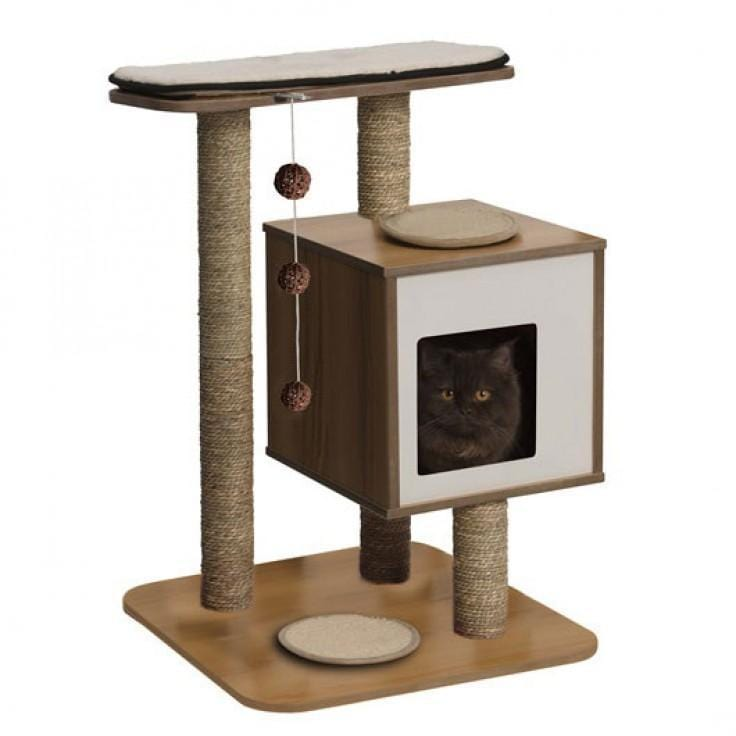 Premium Cat Furniture V-Base Walnut - My Cat and Co.
