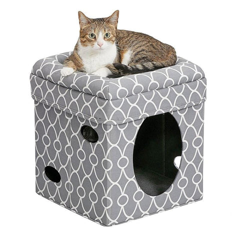 MIDWEST Curious Cat Cube Grey - My Cat and Co.