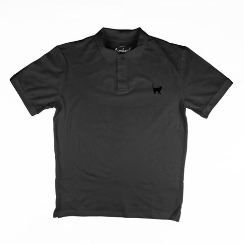 BLACK CAT EMBROIDERED Men's Polo Top - My Cat and Co.
