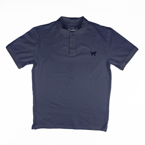 NAVY CAT EMBROIDERED Men's Polo Top - My Cat and Co.
