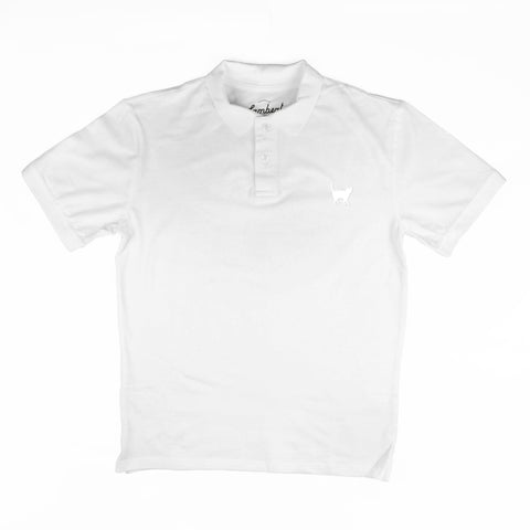WHITE CAT EMBROIDERED Men's Polo Top - My Cat and Co.