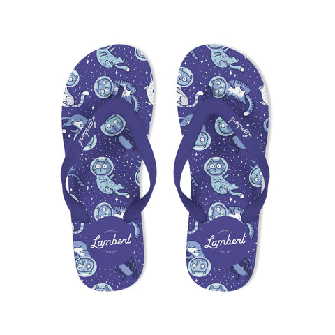 SPACE CAT Flip Flops Navy - My Cat and Co.
