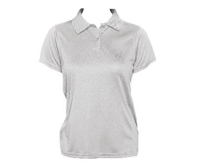 Cat Embroidered Women's Polo Top Light Grey - My Cat and Co.